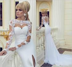 white wedding dresses fall white wedding dresses mermaid sleeves gowns