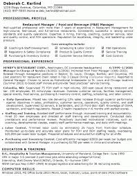 resume templates food sales representative restaurant resume
