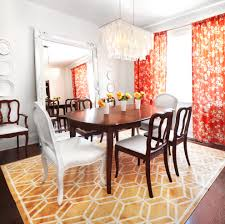Floral Dining Room Chairs Dining Room Round Orange Pendant Lighting With Orange Fabric