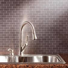 metallic kitchen backsplash aspect subway matted 12 in x 4 in brushed stainless metal