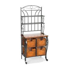amazon com southern enterprises wrought iron bakers rack with