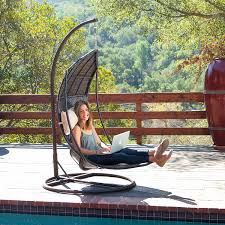 Rattan Swinging Chair Amazon Com Outdoor Brown Wicker Hanging Chair With Cushions