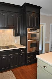 exciting interior for kitchen with black wooden cabinet feat