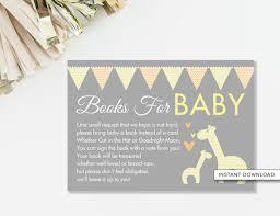 bring a book instead of a card poem bring a book card giraffe baby shower orange and yellow giraffe