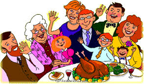 family waving at dinner table thanksgiving animation gif animations
