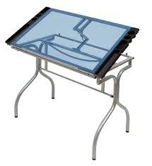 Drafting Table Canada Studio Designs 13220 Folding Craft Station Silver Blue Glass