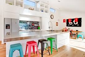 23 kitchens with chalkboard paint contemporary white kitchen chalkboard wall steel countertops mismatched bar stools open and closed cabinets
