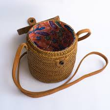 canister wicker straw bag polkadee