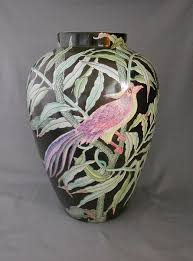 Toyo Vase Hand Painted Chinese Famille Porcelain Vase With Ferns And