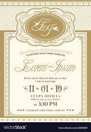 invitation card vintage frame wedding invitation card background vector image