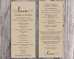 wedding programs rustic burlap wedding program template diy editable word file