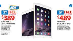what is the best deals on ipads airs 2 this black friday pre black friday sale 489 ipad air 2 with free 100 gift card
