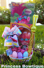 filled easter baskets trolls easter basket trolls easter basket filled trolls bows