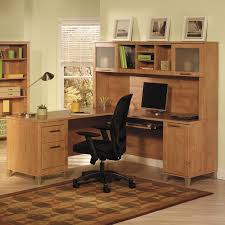 Bush Home Office Furniture Bush Cabot Lshaped Desk With Optional Hutch Hayneedle For Office