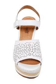 lyst clarks zia graze platform wedge sandal in white