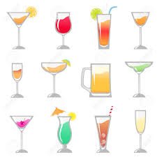 martini drawing alcohol drinks glasses set royalty free cliparts vectors and