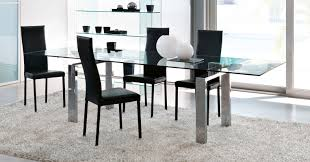 glass chrome dining table contemporary dining table tempered glass chrome steel