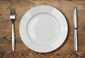 white empty dinner plate setting on table stock photo picture and