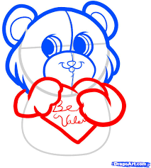 how to draw be my valentine be my valentine bear step by step