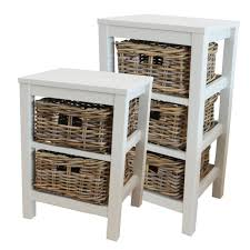 Rattan Baskets by Antique White Wooden 2 Or 3 Drawer Unit With Wicker Rattan Baskets