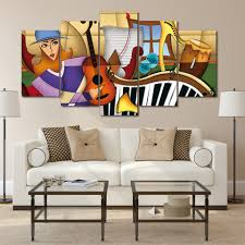 musical instruments groups promotion shop for promotional musical wall art pictures home decor for living room 5 panel music instruments color group painting canvas hd prints poster frames