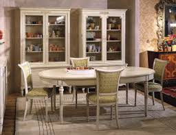 furniture white wood oval dining table with glass door cabinet