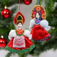 russian doll ornaments porcelain faces far away