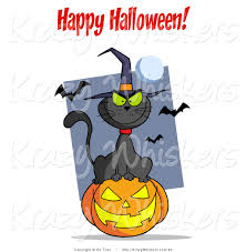 critter clipart of a happy halloween greeting over a black cat and