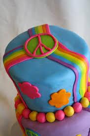 rainbow u0026 peace sign wonky birthday cake