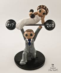 weight lifting cake topper and groom weight lifting wedding cake topper