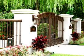 cool wrought iron fence and gate design idea in brown color decors