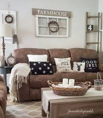 brown couch rustic home living room farmhouse alluring furniture