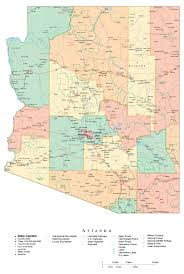 Map Of Arizona Cities Administrative Map Of Arizona State Arizona State Administrative