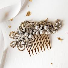 hair comb pearl filigree wedding hair comb by highland angel