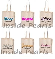 bridal party tote bags new bridesmaid bag of honor bag personalised with name