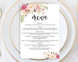 wedding menu template menu printable menu cards editable