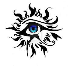 and eye of ra black tribal sun and horus eye