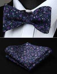 floral bowtie party pocket square classic wedding bf704ps navy blue purple