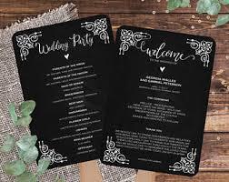 Chalkboard Wedding Program Template Printable Wedding Signs Cards Editable Pdf By Mycolormoodwedding