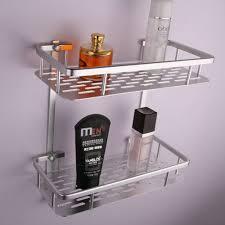 bathroom aluminum storage shelf basket with hooks wall mounted