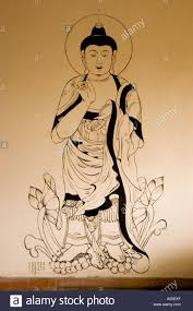 Mural Painting Sketches by Japan Style Standing Buddha Mural Painting In Japanese Zen