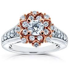floral engagement rings floral diamond engagement ring 1 ctw in 14k two tone gold