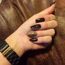 matte black gold sparkles coffin shape nails gel acrylic nails