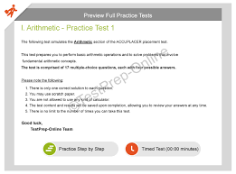 accuplacer math placement practice tests testprep online