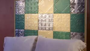 faux tin tile backsplash