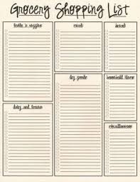 grocery list free printable download organizer grocery