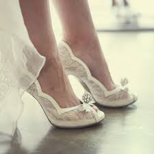 Wedding Shoes Peep Toe White Lace Peep Toe Wedding Shoes Rhinestone Luxurious Lady High