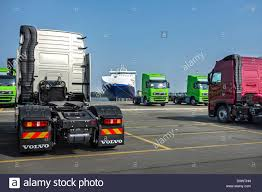 volvo trucks trucks from the volvo trucks assembly plant waiting to be loaded