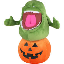 halloween baby toys gemmy holiday greeter ghostbusters slimer on pumpkin halloween