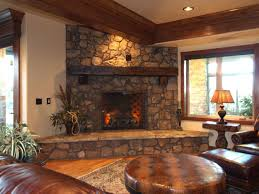 Floating Fireplace Mantels by Grey Stone Fireplace With Grey Wooden Mantel Shelf And Grey Stone